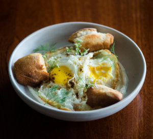 Eggs and yogurt with bread from Sly Granny The Breakfast Club