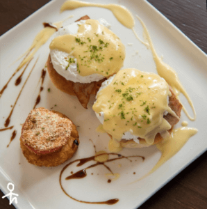 eggs benedict on a breakfast plate