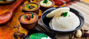 Dosa and idli with rice, indian breakfast