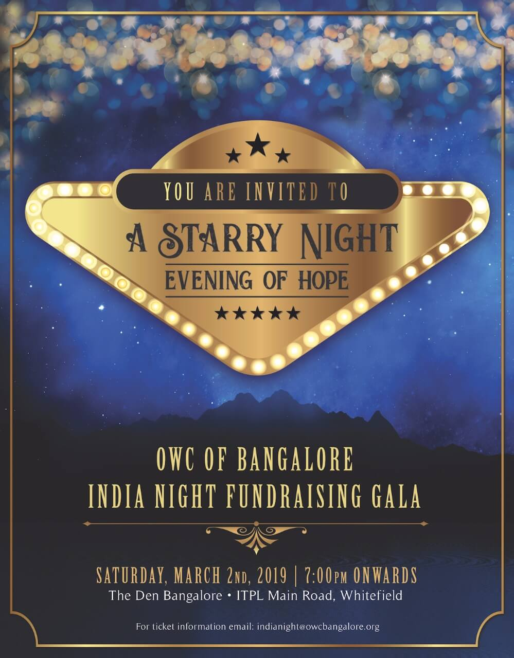 OWC OF BANGALORE INDIA NIGHT FUNDRAISING GALA - The Vine Bangalore